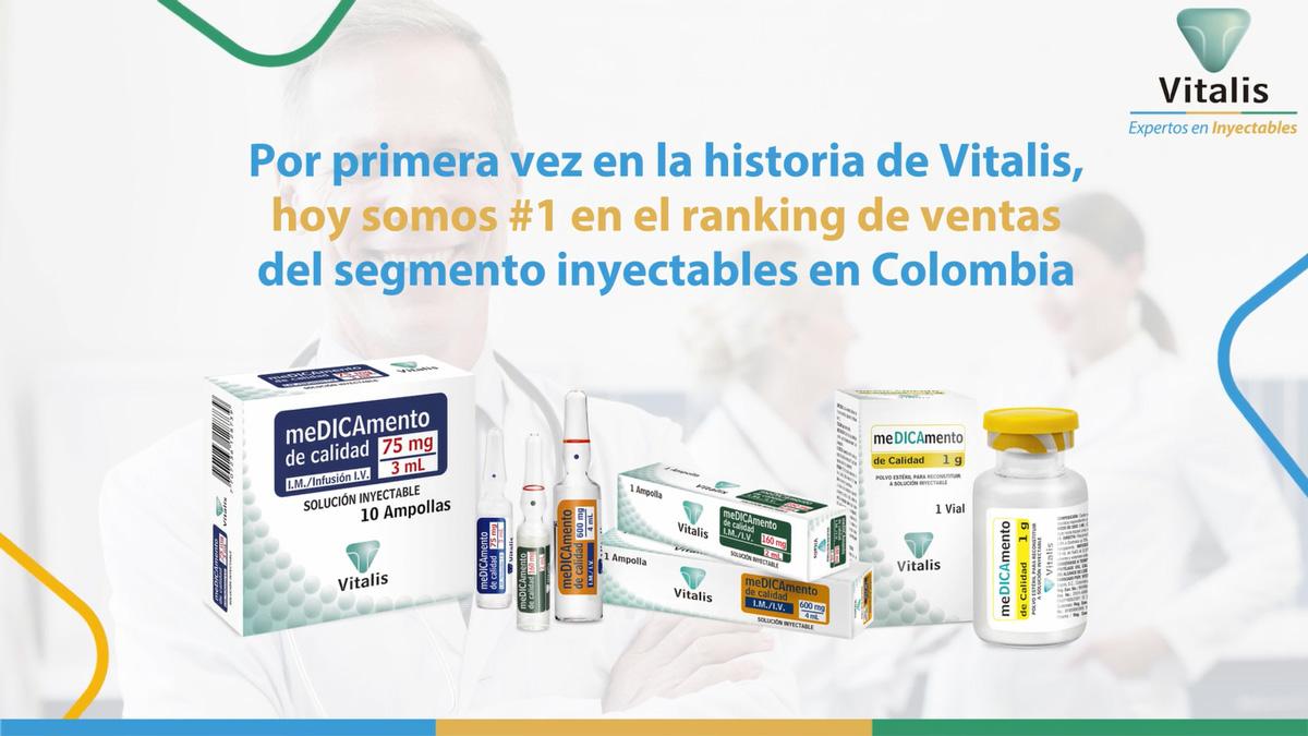 En Vitalis somos #1 en el ranking de ventas del segmento inyectables en Colombia.